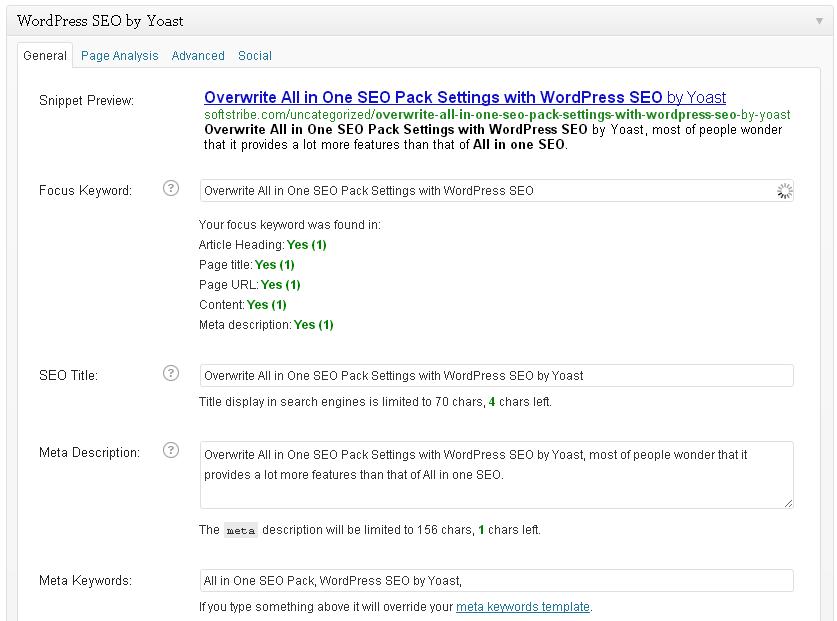 Overwrite All in One SEO Pack Settings with WordPress SEO