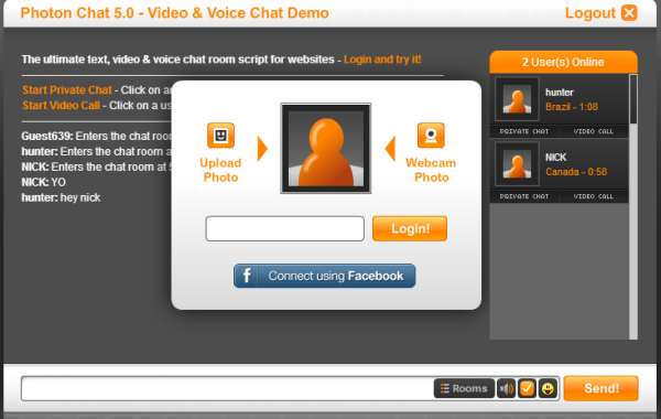 Private video chat room
