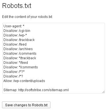 Robots txt file editor