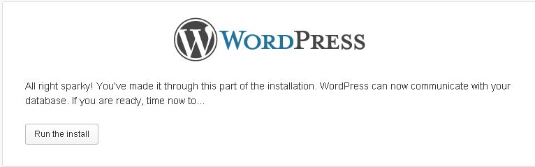 Run the install of WordPress