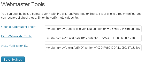 WordPress SEO Configuration meta keys