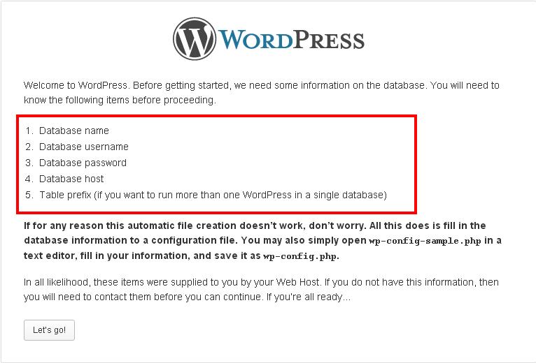 WordPress database Setup Configuration