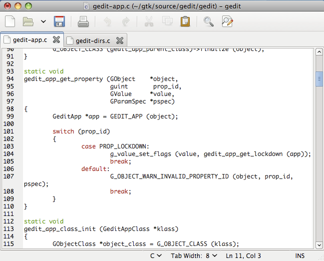 gedit Text Editor Screenshot
