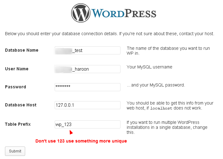 Database information when install WordPress