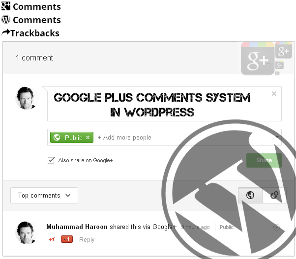 Googleplus Comments System in WordPress