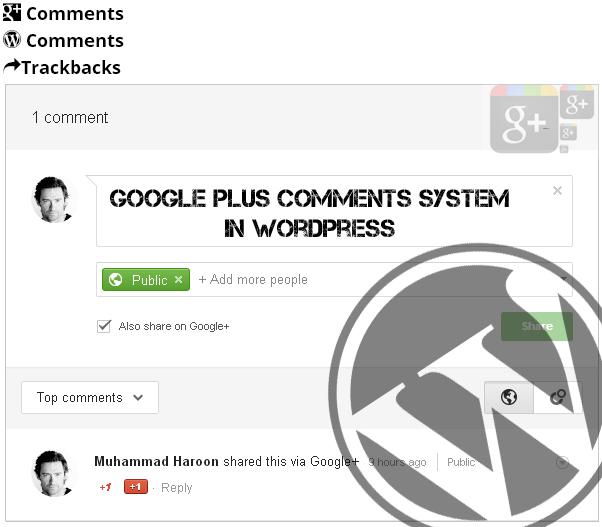 Googleplus Comments System in WordPress