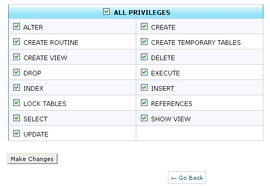 Grant Privileges mysql