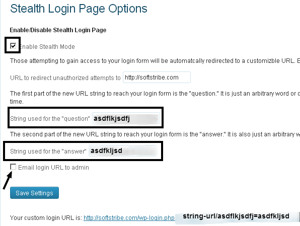 Stealth Login Page Options