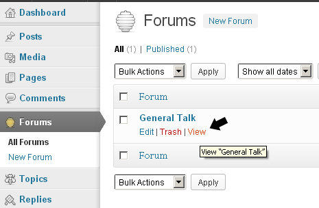 View Forums in WordPress bbPress