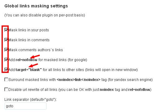 WP NoExternalLinks settings