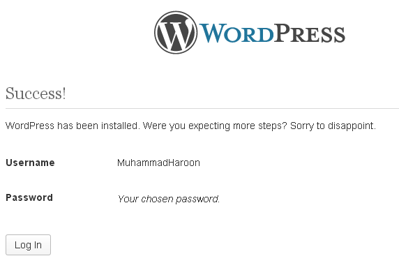 WordPress Login after installations