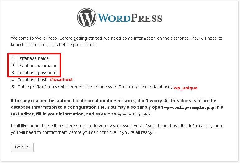 WordPress Setup Configuration File database