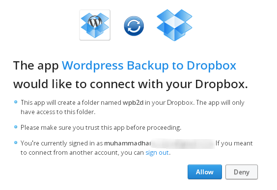 API Request Authorization Dropbox backup for wordpress