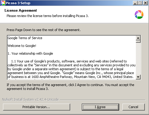 Accept the agreement picasa