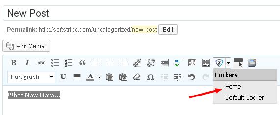 Add New Post for social locker WordPress