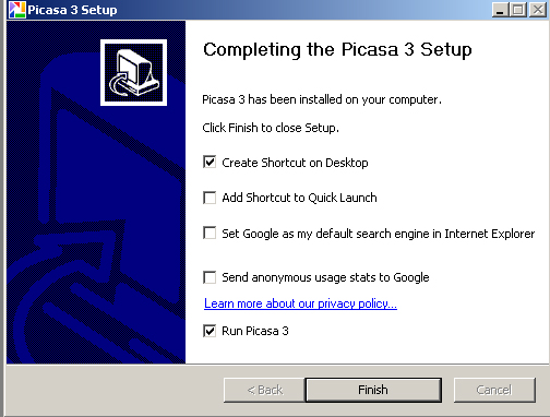 Complete the Picasa Setup