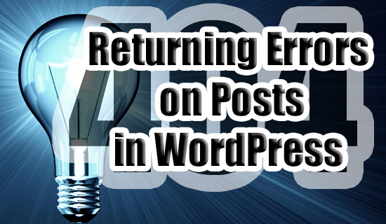 Fix 404 Returning Errors in WOrdPRess copy