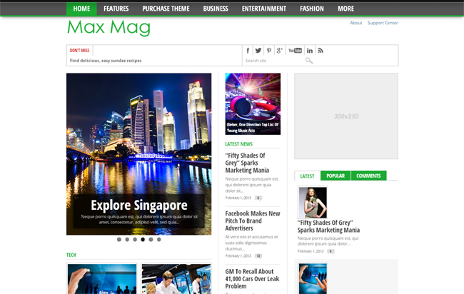 Max Mag Responsive Magazine WordPress Theme