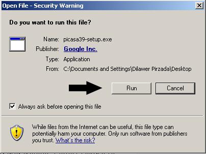 Run the Picasa install