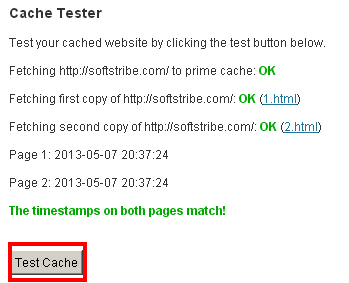 WP Super Cache test cache