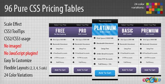 96 Pure CSS Pricing Tables