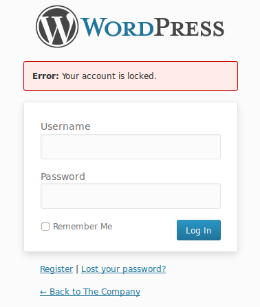 Account Lock WordPress plugin login form