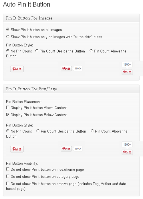 Auto Pin It Button WordPress Settings Page