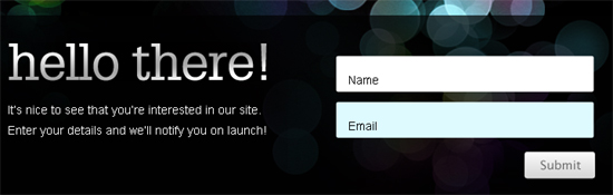 Beta Splash Page Email Signup Form