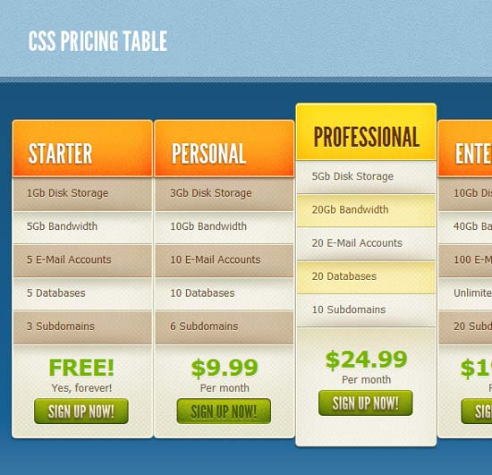 CSS Pricing Table