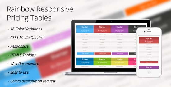 CSS3 Rainbow Responsive Price Tables