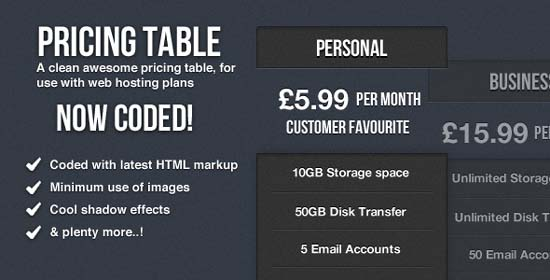Clean Pricing Table Coded