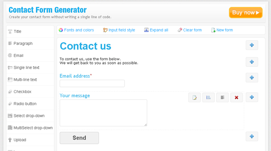 Contact Form Generator Form Builder
