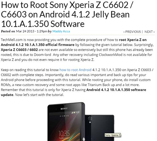 How to Root Sony Xperia Z C6602  C6603 on Android 4.1.2 Jelly Bean 10.1.A.1.350 Software