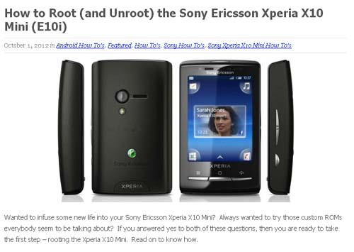 How to Root (and Unroot) the Sony Ericsson Xperia X10 Mini (E10i)