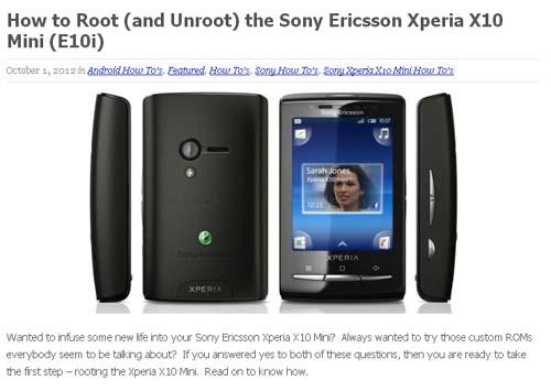 How to Root (and Unroot) the Sony Ericsson Xperia X10 Mini (E10i)