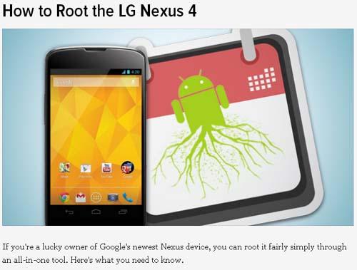 How to Root the LG Nexus 4