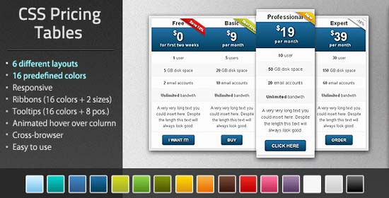 Multicolor Pure CSS Pricing Table Pack