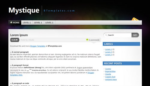 Mystique blogger template