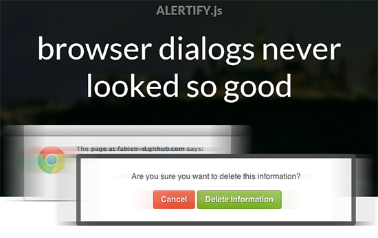 Alertify js custom browser dialog