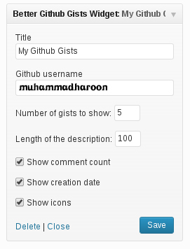 Better Github Gists Widget Settings