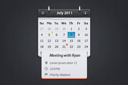 Calendar wtih event preview