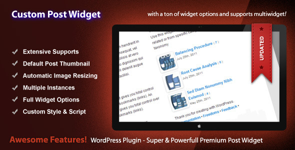 Custom Post Widget - WordPress Premium Plugin