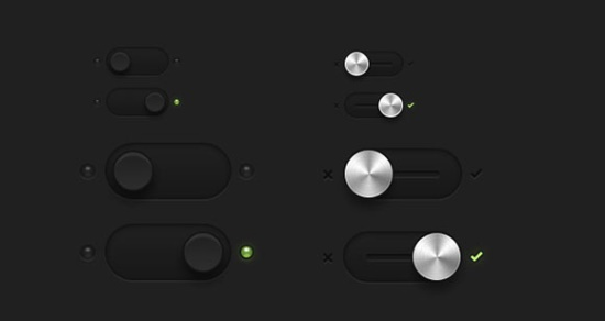 Dark Essential Switches & Toggles PSD