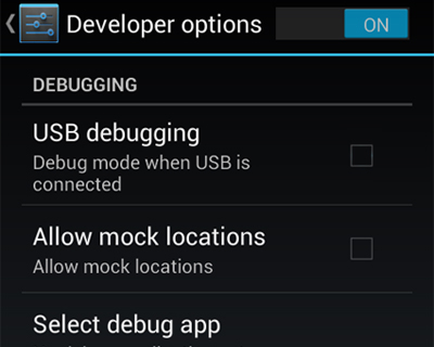 Developers Options Android USB Debugging Mode