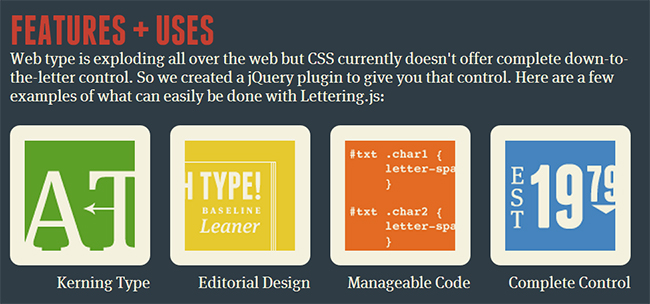 Features and uses of jQuery plugin lettering js