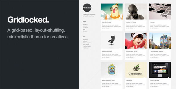 Gridlocked Minimalistic WordPress Portfolio Theme