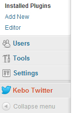 Kebo Twitter Feed Settings Page