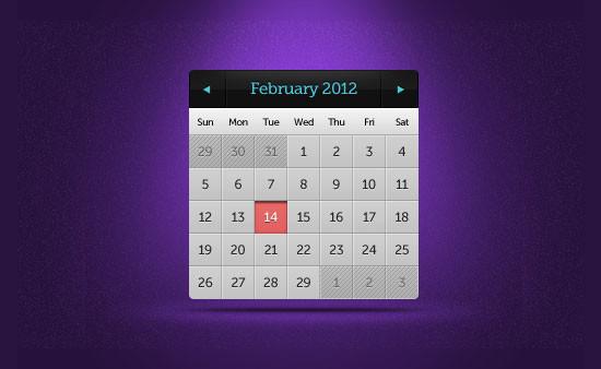 Minimalist Calendar Widget PSD