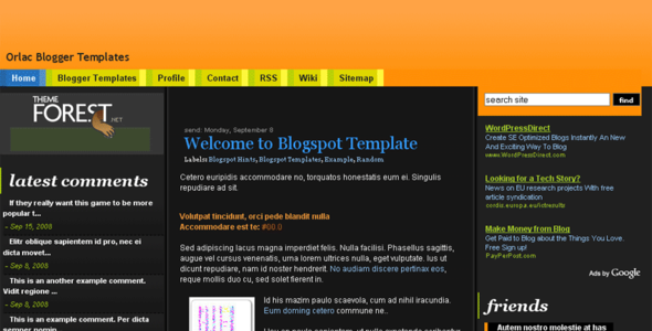 Orlac Templates for Blogspot