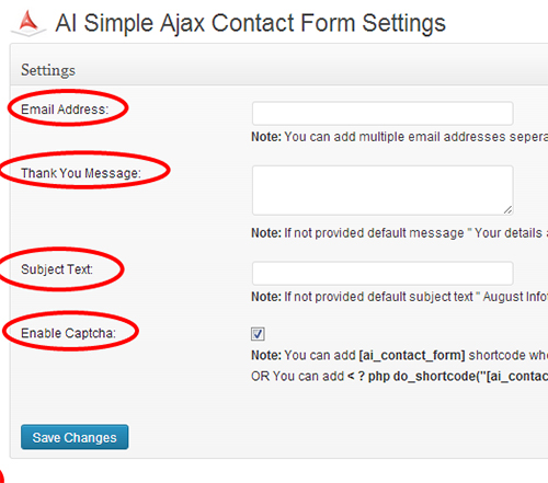 Responsive Contact Form Settings